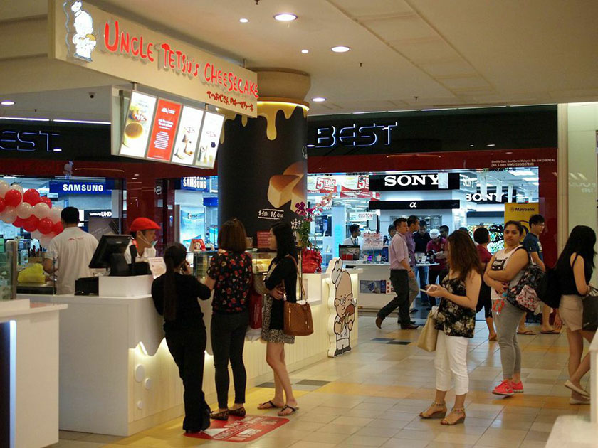 During the day, there will be people waiting for their cheesecake at Uncle Tetsu