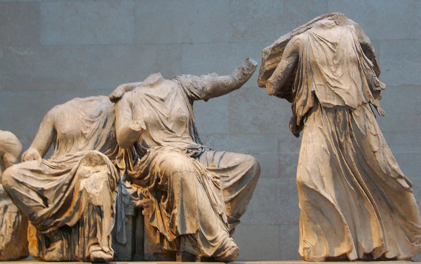 The Parthenon marbles owned by the Greeks are exhibited alongside plaster copies of those that remain in London. — AFP pic