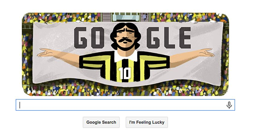 A screencap of the late football legend Mokhtar Dahari celebrated in today's Google doodle.
