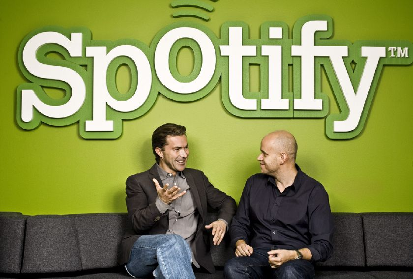 Spotify co-founders Martin Lorentzon and Daniel Ek. — Reuters pic