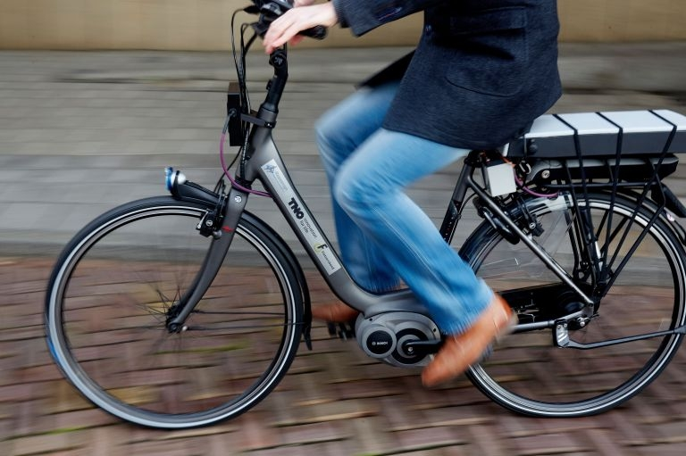 A rider tests a bike with special safety technology in The Hague, on December 15, 2014. — AFP-Relaxnews pic