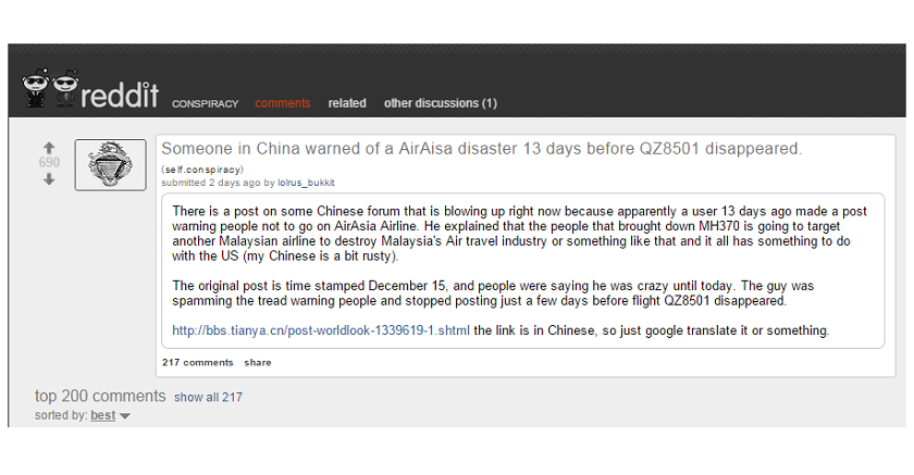 Screen capture of a Reddit post, showing a loose translation of a post by an unknown blogger in a Chinese cyber forum which predicted the disappearance of the Indonesia AirAsia flight QZ8501.