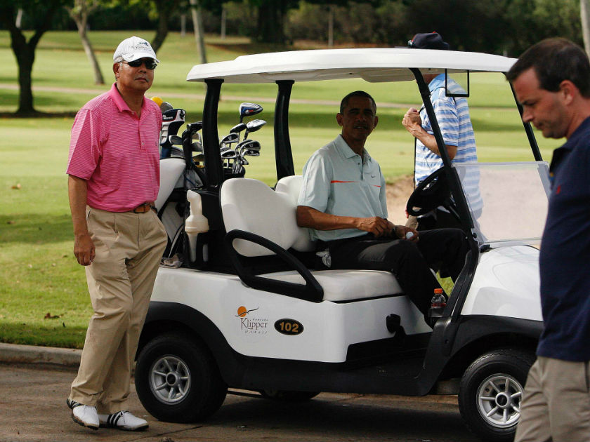 File photo of Prime Minister Datuk Seri Najib Razak and US President Barack Obama getting in their golf cart after playing on the 18th green at the Clipper Golf course in Hawaii, December 25, 2014. — Reuters pic
