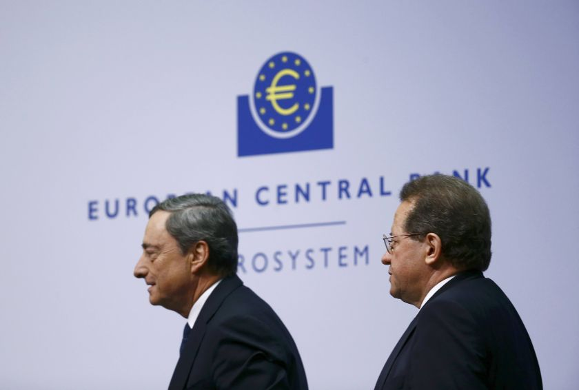 File picture of European Central Bank (ECB) President Mario Draghi and Vice President Vitor Constancio (right) at the ECB's headquarters in Frankfurt. Constancio said the euro zone was not in deflation and there was also not a risk of this for every country in the single currency bloc. — Reuters pic
