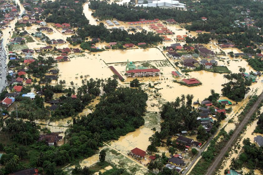 A file picture showing an aerial view of Pasir Mas in Kelantan inundated by flood water December 29, 2014. — Picture by Yusof Mat Isa