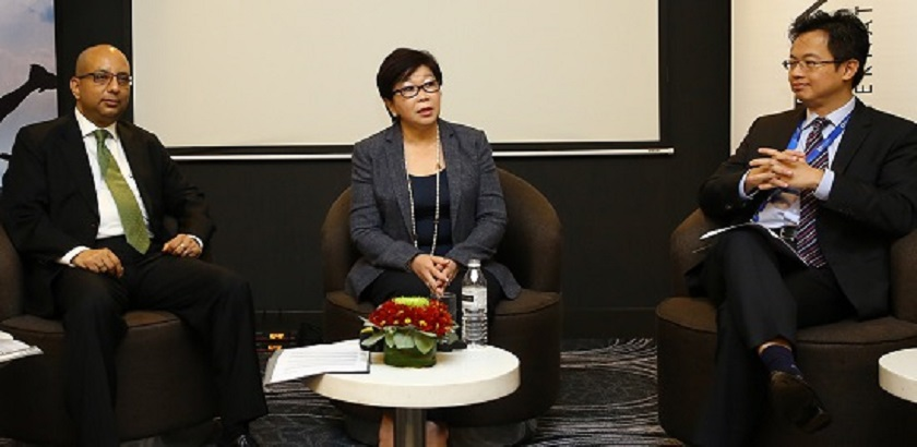 Servion vice president and region head of Asia Pacific Abhijit Banerjee, Brandt International CEO Munirah Looi and Cisco Malaysia country manager Albert Chai at a media briefing in Kuala Lumpur, January 29, 2015. — DNA pic