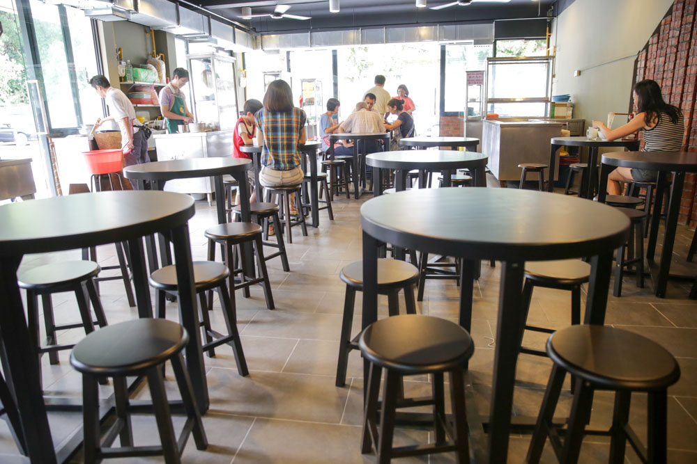 The swankiest coffeeshop in town has custom-made round tables.