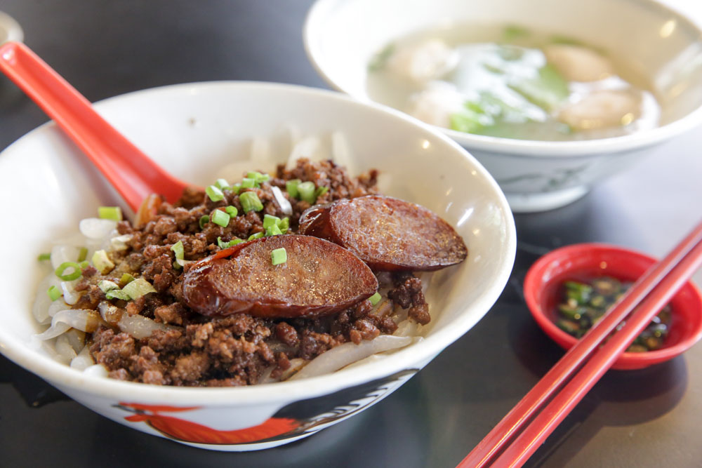 Try the meatball noodles with the tender sausage and pork meat balls.
