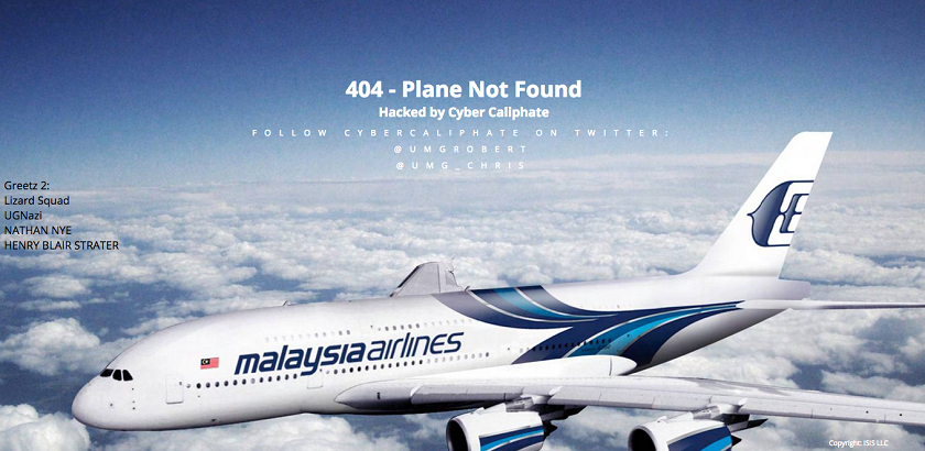 Screen capture showing the main page of MAS' website which was replaced by a photo of Airbus A380 jetliner bearing MAS' logo, with the words '404 — plane not found'.