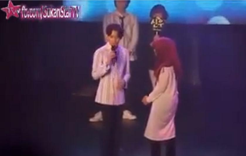 A screenshot of the Sukan Star TV video, titled 'Perempuan melayu dicabul atas pentas oleh mat kpop semalam' (Malay girls molested on stage by K-Pop artists last night). — YouTube videograb