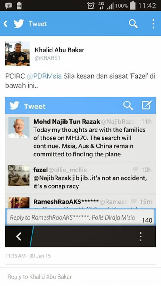 Screenshot of the tweet sent by Inspector-General Police (IGP) Tan Sri Khalid Abu Bakar.