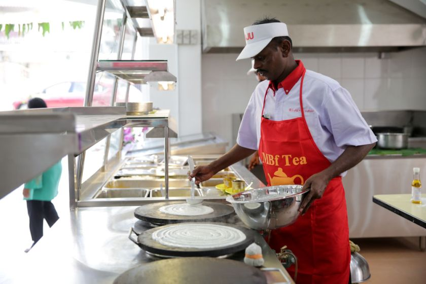 Thosai is made upon order at the open kitchen.
