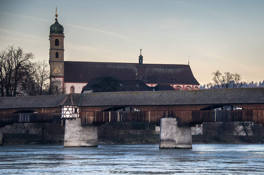 A picture taken on January 6, 2015 shows the Bad Seckingen covered bridge after Switzertland has decided to dismantle explosives at the bridge since the cold war. — AFP pic