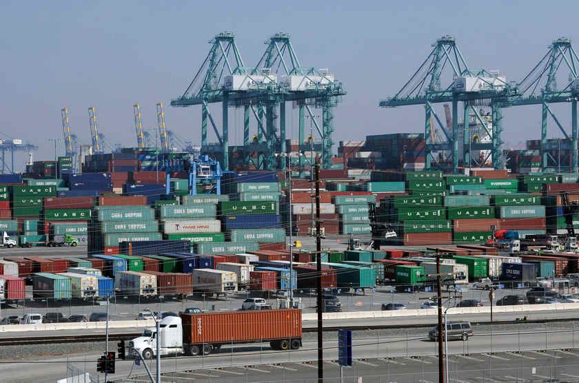 Cargo containers sit idle at the Port of Los Angeles February 18, 2015. — Reuters pic