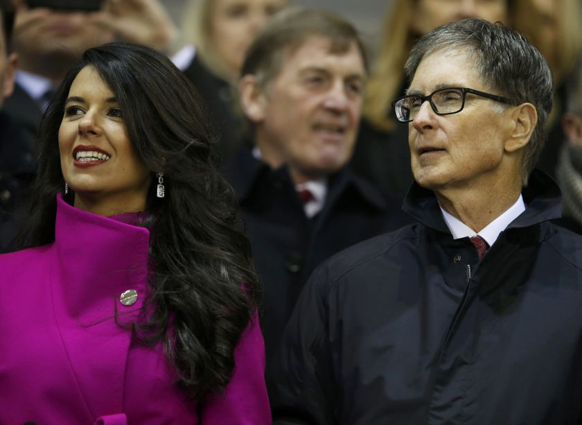 Liverpool's owner John W Henry (right) and his wife Linda Pizzuti watch during their English Premier League football match against Tottenham Hotspur at Anfield in Liverpool, northern England, February 11, 2015. — Reuters pic