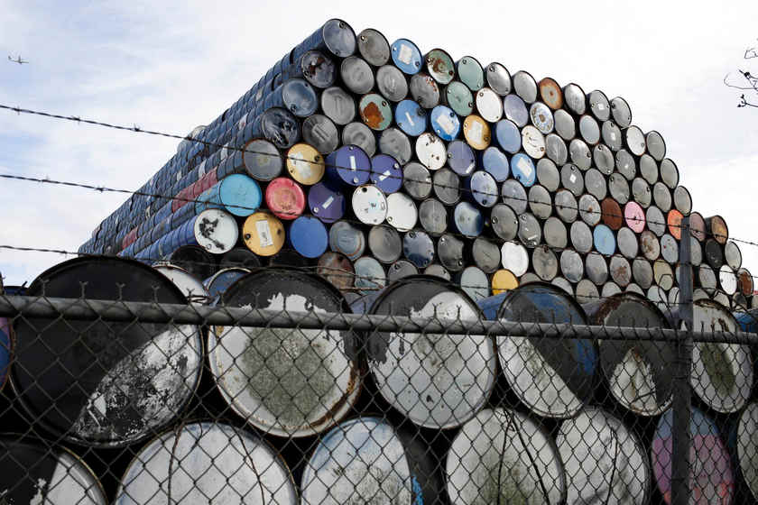 Oil barrels are stacked at a storage facility in Seattle, Washington February 12, 2015 — Reuters pic