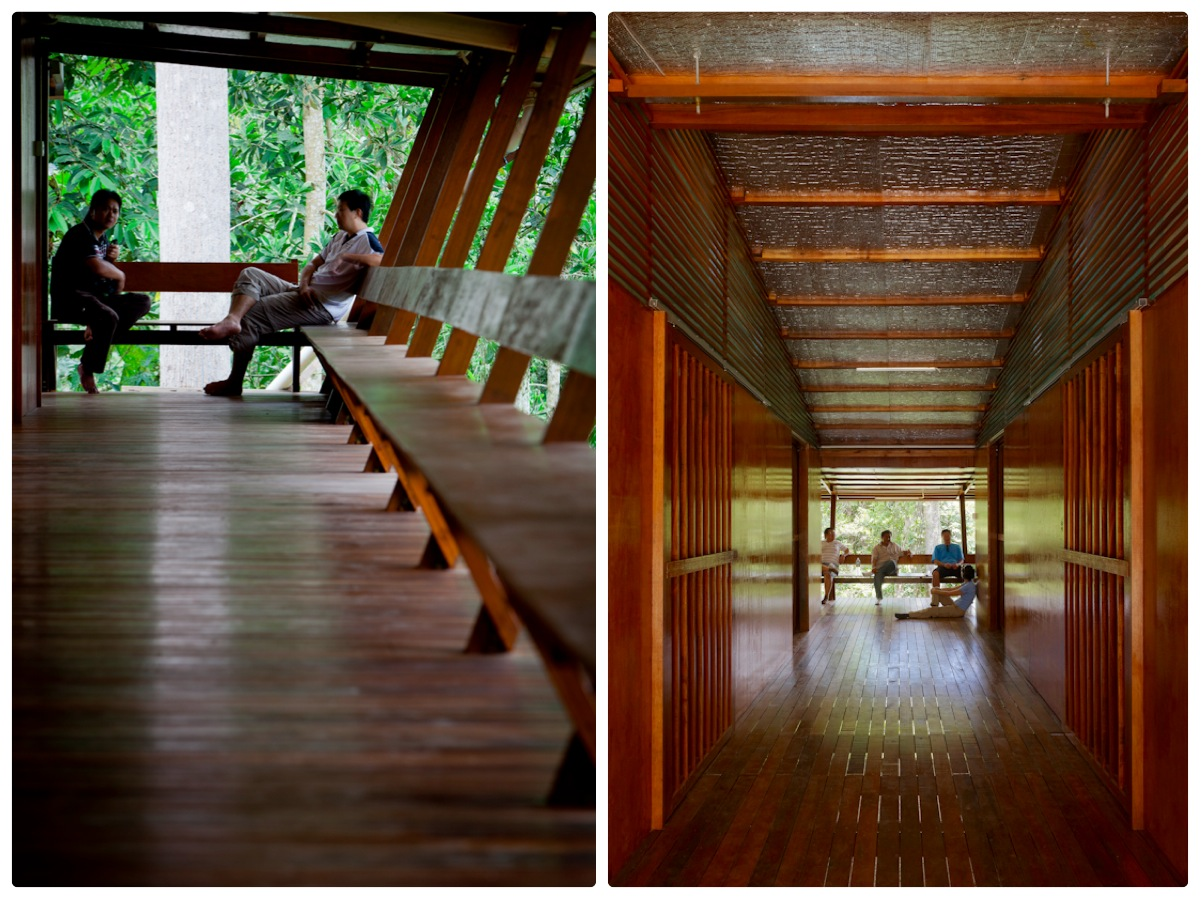Along the forest edge the long verandah provides places for conversation and outlook (left) and the entry breezeway (right)