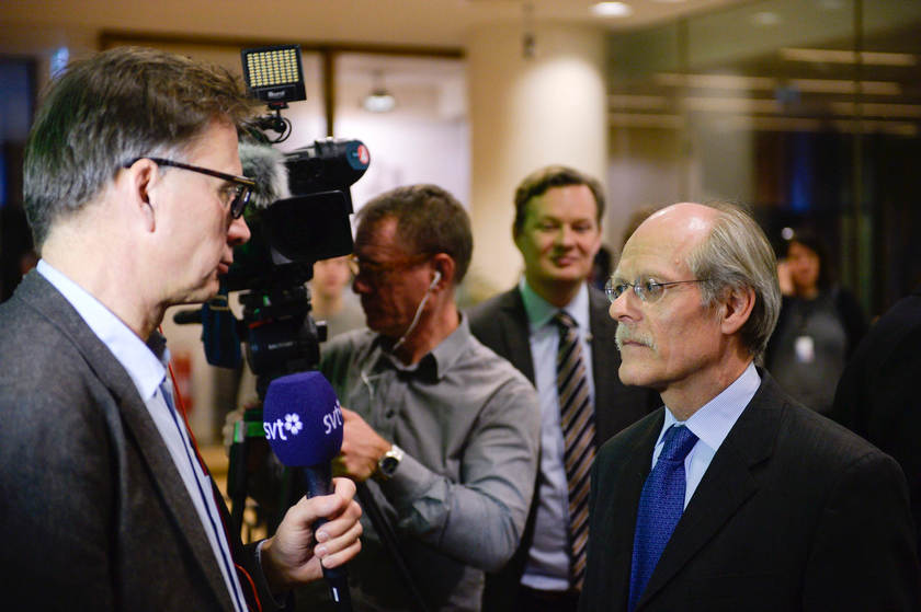 Stefan Ingves, governor of the Swedish central bank Riksbank, speaks with journalists in Stockholm February 12, 2015 — Reuters pic