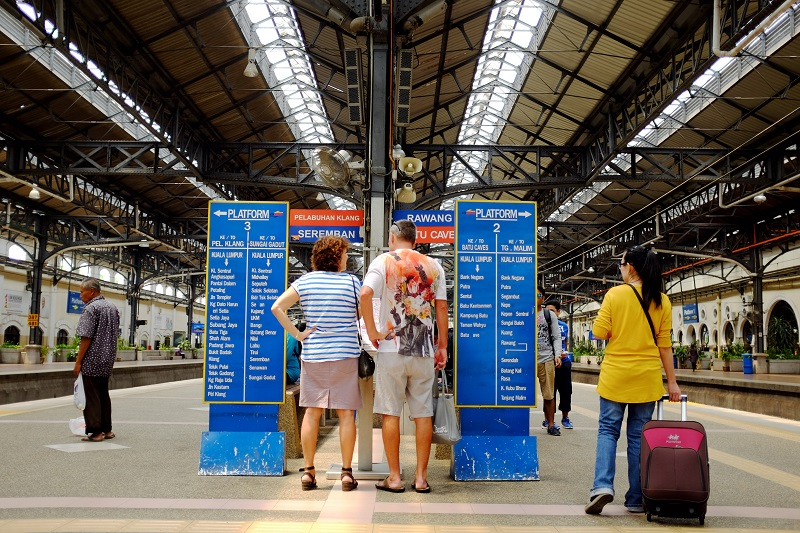 Tourists check the Komuter service route at the Kuala Lumpur KTM Komuter station in this file picture taken on March 24, 2015. — Bernama pic