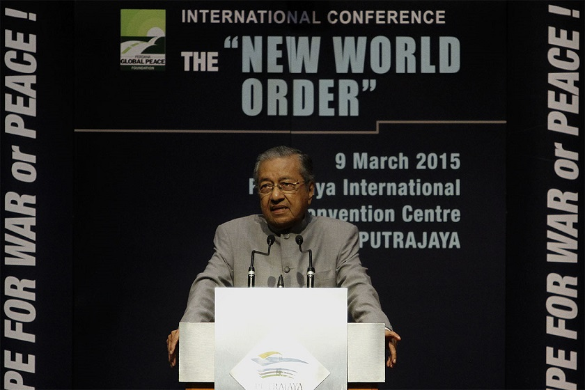 Tun Dr Mahathir Mohamad speaks at the International Conference on 'New World Order' organised by the Perdana Global Peace Foundation at the Putrajaya International Convention Centre, March 9, 2015.  — Picture by Yusof Mat Isa