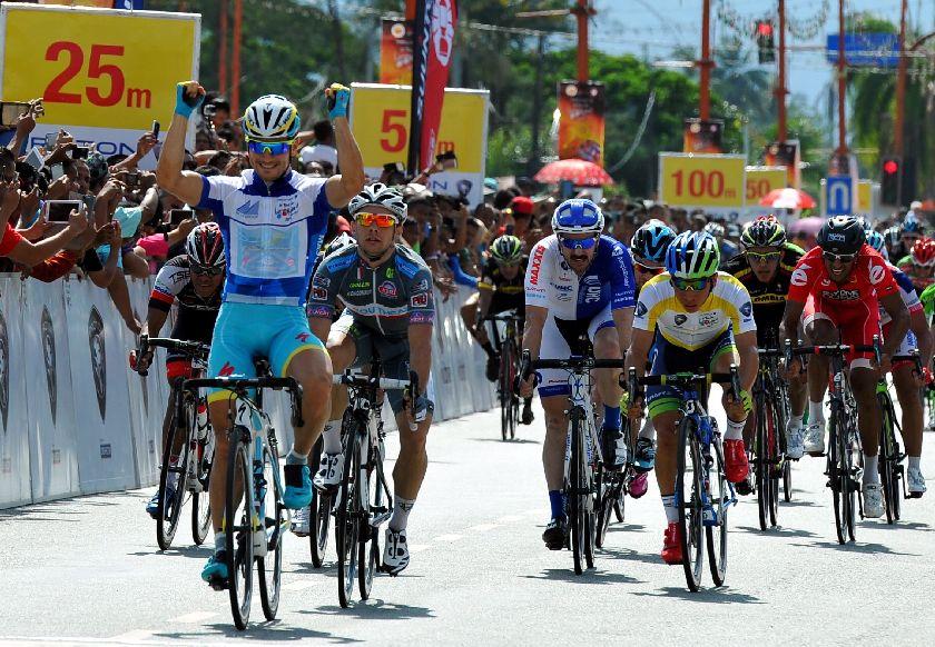 Astana Pro Team rider Andrea Guardini wins stage four of the 2015 Le Tour de Langkawi (LTdL), from Kota Baru in Kelantan to Kuala Berang in Terenganu. — Bernama pic