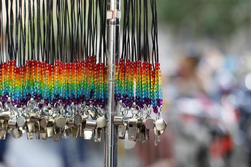 Rainbow whistles hang at the San Francisco Gay Pride Parade on June 30, 2013. California is a famously liberal US state where a lawyer is now calling for a vote on execution to outlaw homosexuality. — Reuters pic