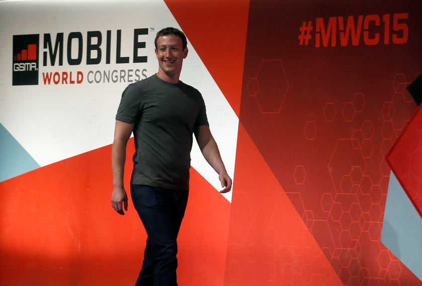 Facebook Chief Executive Mark Zuckerberg arrives for a keynote presentation event at the Mobile World Congress in Barcelona March 3, 2015. — Reuters pic