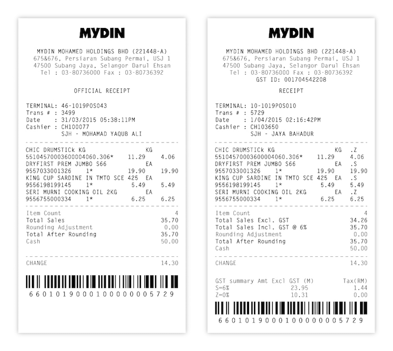 A comparison of Mydin receipts before and after the Goods and Services Tax kicked in on April 1, 2015. — Picture courtesy of Datuk Wira Ameer Ali Mydin.
