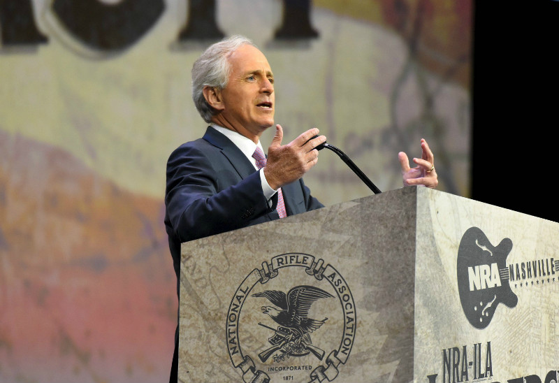 File picture shows US Senate Foreign Relations Committee chairman Senator Bob Corker (R-TN) speaking during the National Rifle Association's annual meeting in Nashville, Tennessee April 10, 2015. — Reuters pic