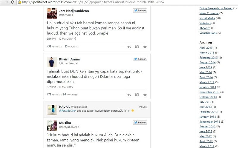 A screengrab from the Politweet website showing some of the tweets collated for the hudud study.
