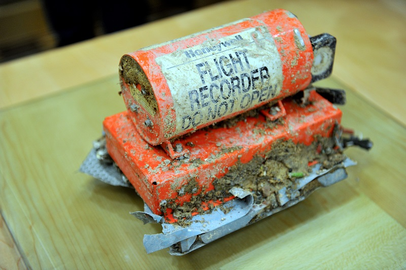 The black box that was recovered from the helicopter that crashed in Semenyih on April 4 is seen at the Ministry of Transport in Putrajaya, April 6, 2015. — Bernama pic