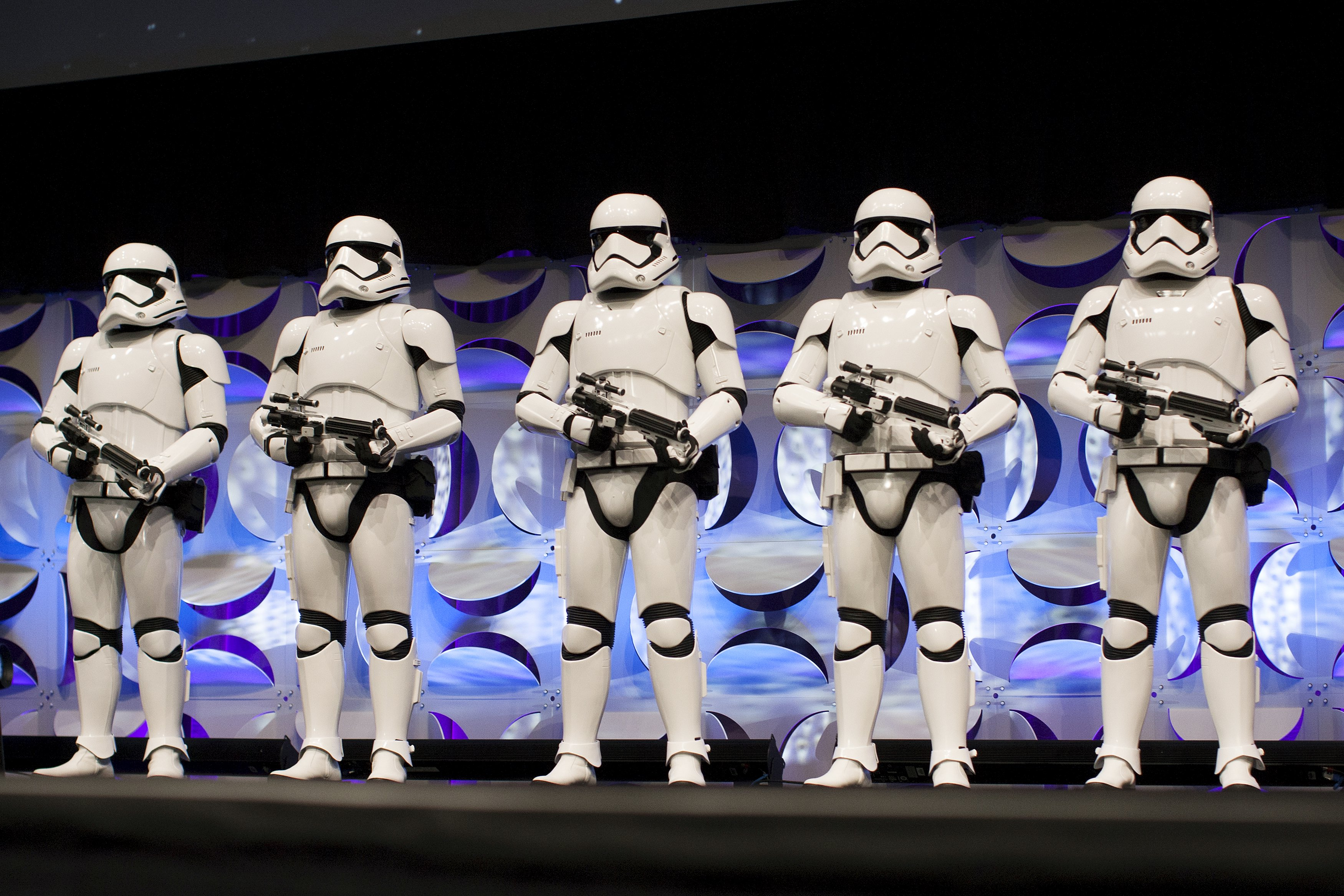 Redesigned Stormtroopers appear onstage at the kick-off event of the Star Wars Celebration in Anaheim, California, April 17, 2015. — Reuters pic