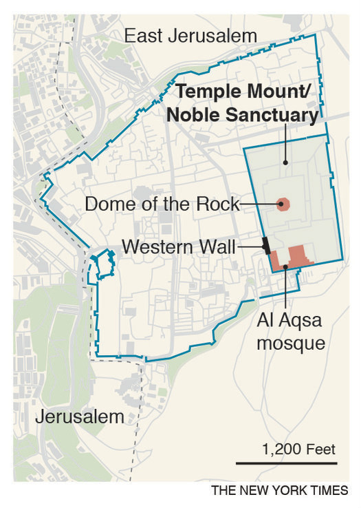Women have been key to Palestinian efforts to strengthen their hold over the 37-acre compound known to Jews as the Temple Mount and Muslims as Al Aqsa, or the Noble Sanctuary. — New York Times graphics