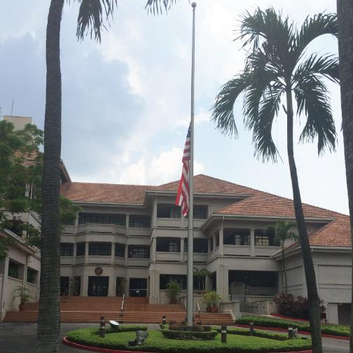 The US Embassy in Kuala Lumpur on April 5, 2015 flew the US flag at half-mast in homage to Tan Sri Jamaluddin Jarjis, the former Malaysian envoy who was killed in a helicopter crash. — Courtesy of US Embassy Kuala Lumpur Facebook page