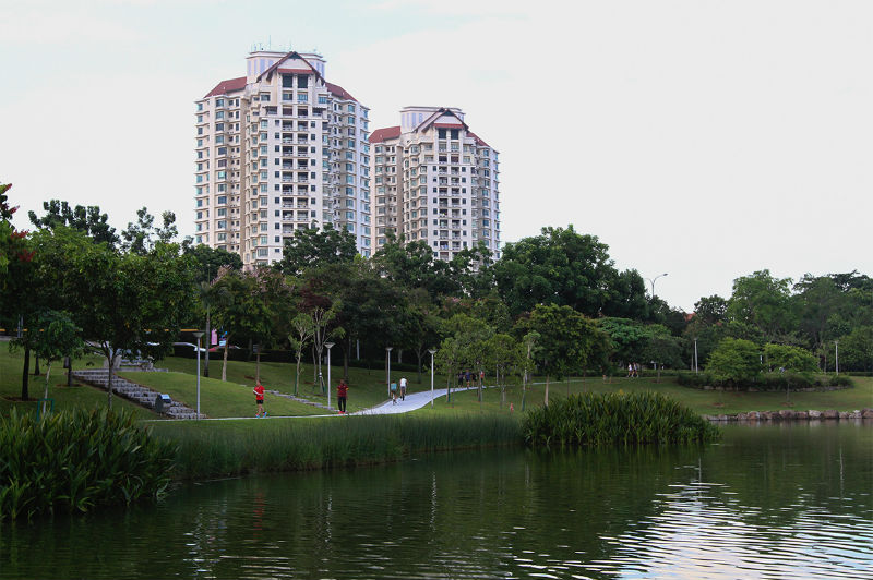 People jogging at a park in Desa Park City, Kepong.