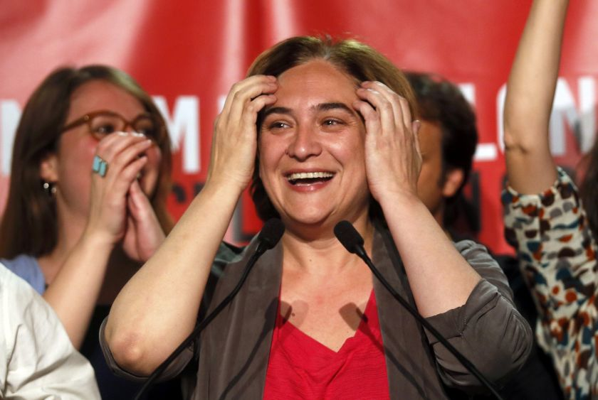 Ada Colau, leader and local candidate of 'Barcelona en Comu' party, reacts as she celebrates her victory after the regional and municipal elections in Barcelona,Spain, May 24, 2015.  — AFP pic