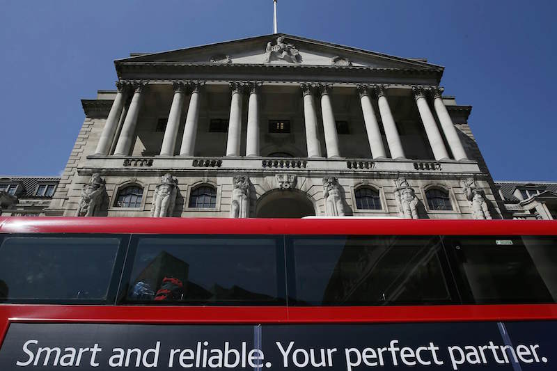 A bus passes the Bank of England in London May 13, 2015. — Reuters pic