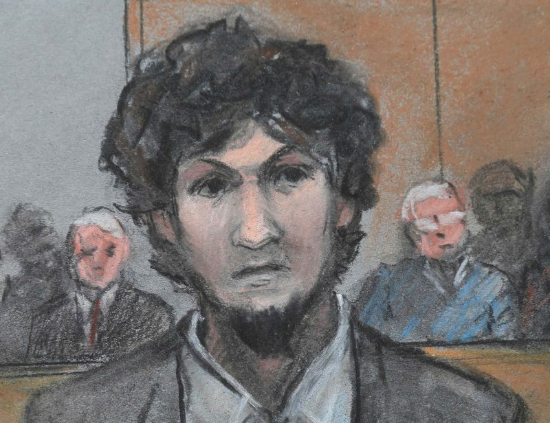 Boston Marathon bomber Dzhokhar Tsarnaev is shown in a courtroom sketch after he is sentenced at the federal courthouse in Boston, Massachusetts May 15, 2015. ― Reuters pic