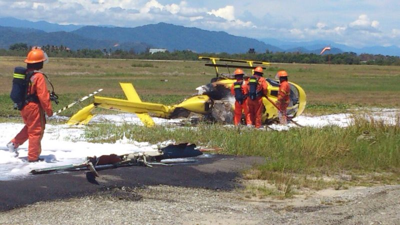 A female pilot who was on a solo training flight is hurt after a helicopter crash lands at KK airport.― File pic