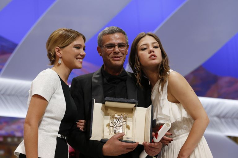 In an exceptional case, filmmaker Abdellatif Kechiche received the Palme d'Or in 2013 along with his film's lead actresses Léa Seydoux (left) and Adèle Exarchopoulos. — AFP pix