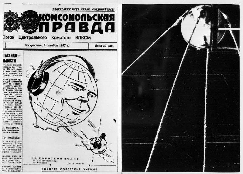 File picture shows the front-page of the Soviet newspaper Pravda after the Soviet Union launched the world's first man-made satellite, called Sputnik 1, on October 4, 1957. — Pravda/AFP pic