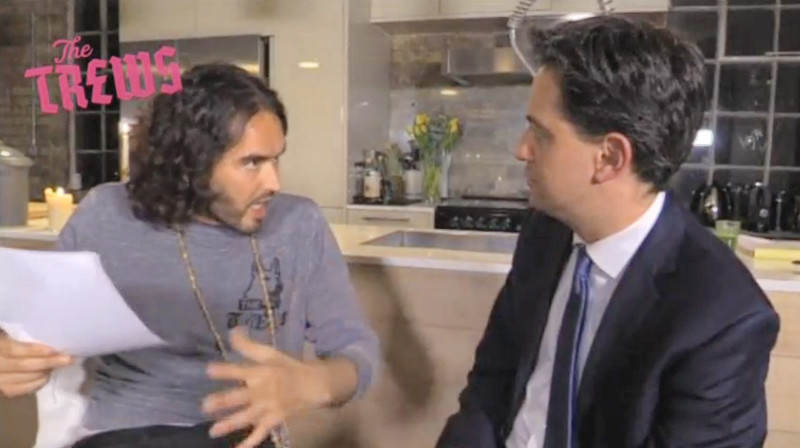 Comedian Russell Brand interviews Labour Leader Ed Miliband about corporations and tax evasion, London, April 29, 2015. — Reuters videograb