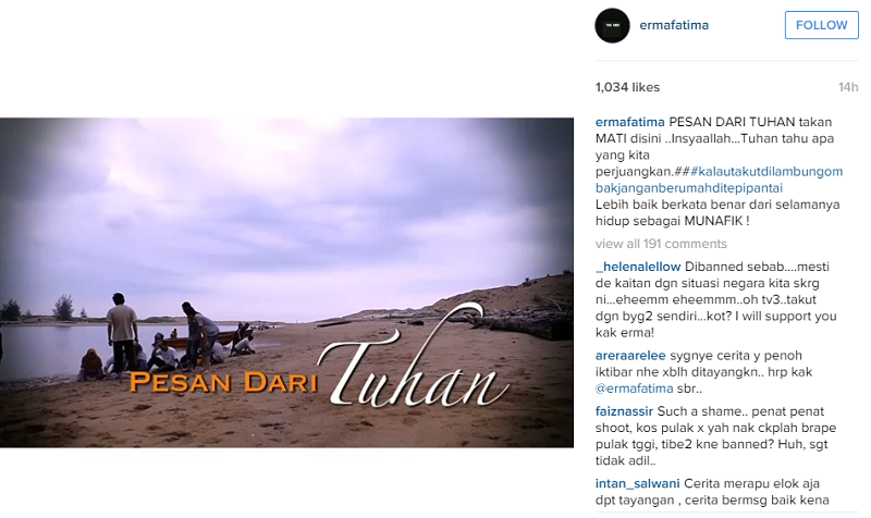 A screen capture of local director Erma Fatima's post on instagram announcing the cancellation of her latest film, 'Pesan Dari Tuhan'.