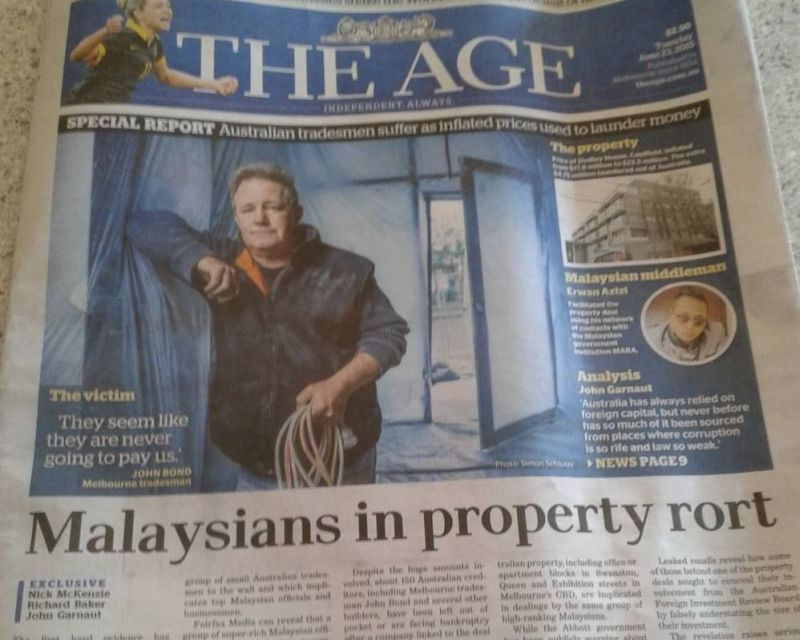 A snapshot of The Age daily which linked a group of super-rich Malaysian officials to the A$4.75m inflated buy of the Melbourne property. ― Picture by K. C. Boey