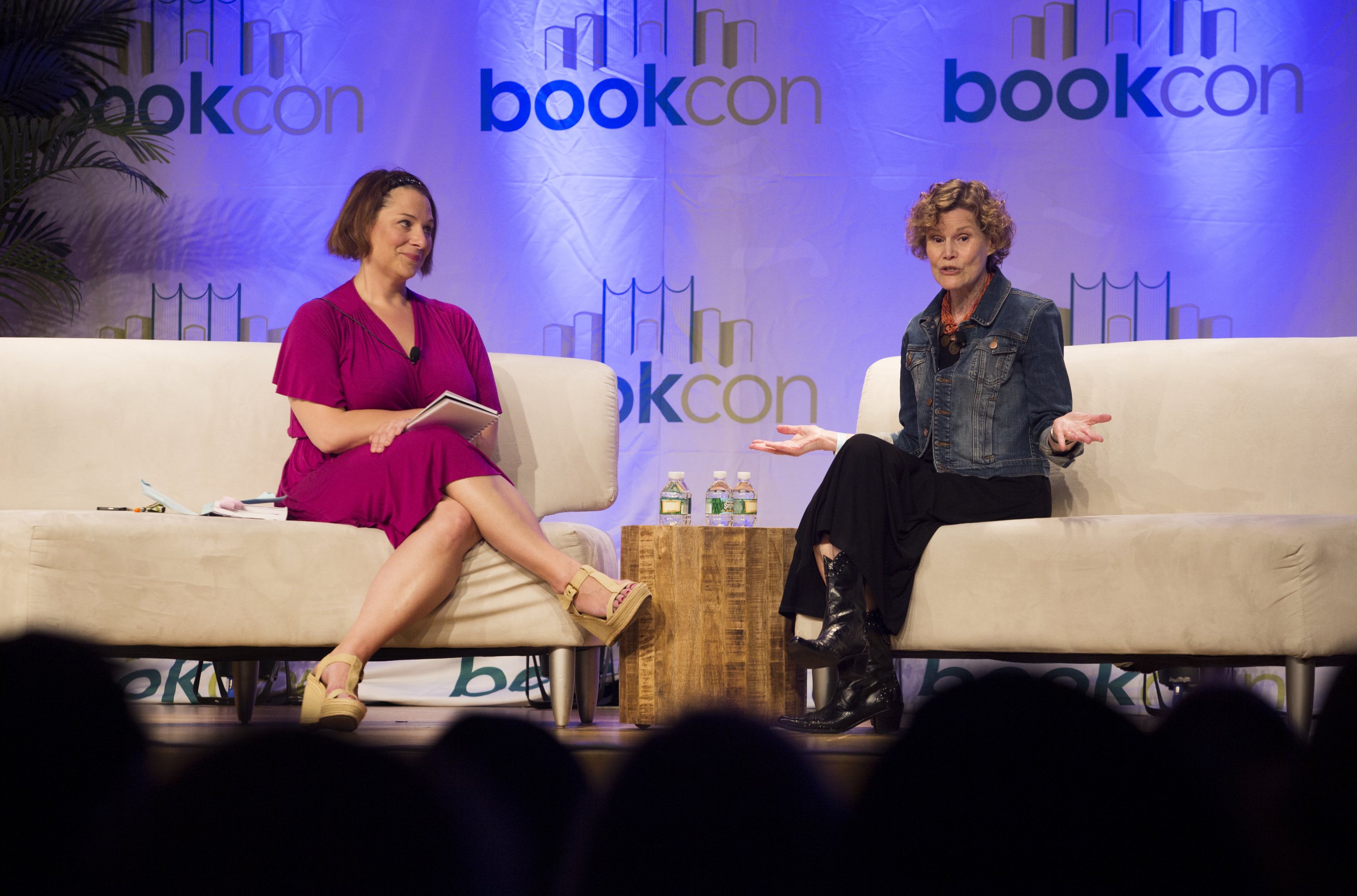 Jennifer Weiner, an author, left, interviews Judy Blume at BookCon at the Javits Centre in New York, May 31, 2015. Blume is promoting her new novel, 'In the Unlikely Event,' her first for adults since 1998. — (Kirsten Luce/The New York Times)