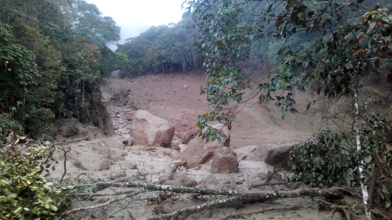 Mudslides at the foothills of Mount Kinabalu have seen boulders as big as fars flowing down the river and cut off road access between Mesilau and Kundasang. ― Picture courtesy of Fire and Rescue Services Department
