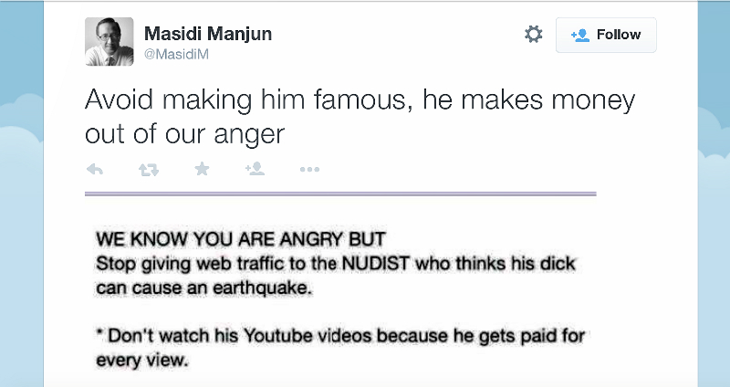 Screencapture of Sabah Tourism Minister Datuk Masidi Manjun's tweet in which he advised Malaysians not to watch the video uploaded by a tourist who mocked him.