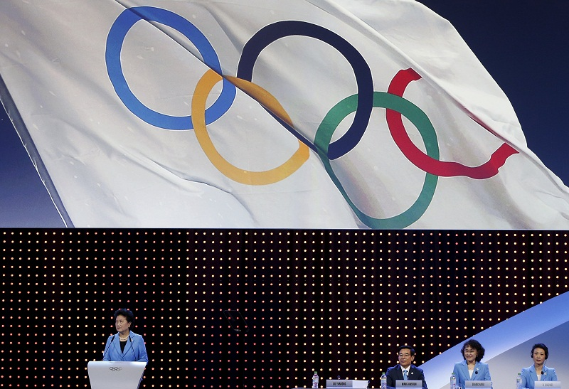 Vice Premier of State Council and Head of the Beijing 2022 delegation Liu Yandong (left) speaks during 2022 Winter Games presentation at the 128th International Olympic Committee (IOC) Session in Kuala Lumpur, Malaysia, July 31, 2015. — Reuters pic