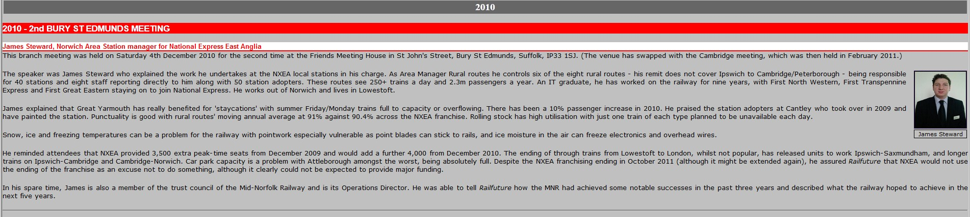 Screen capture of RailFutures website showing the entry on James Steward.