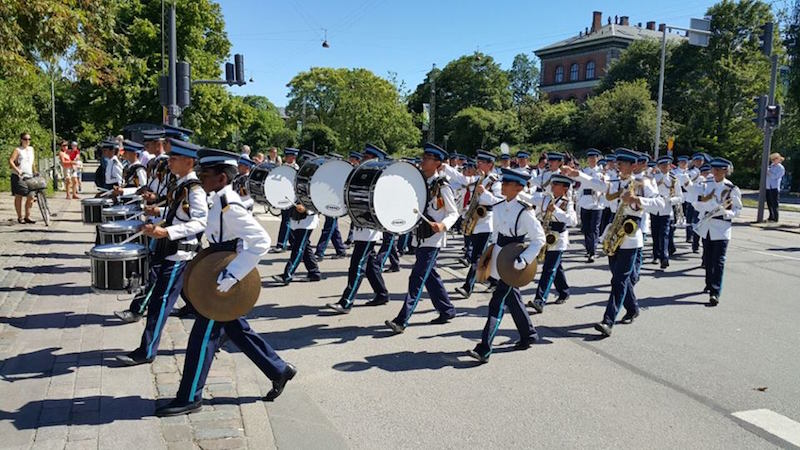 The VICC Band take part in the street parade in Copenhagen. — Picture courtesy of VICCB parents